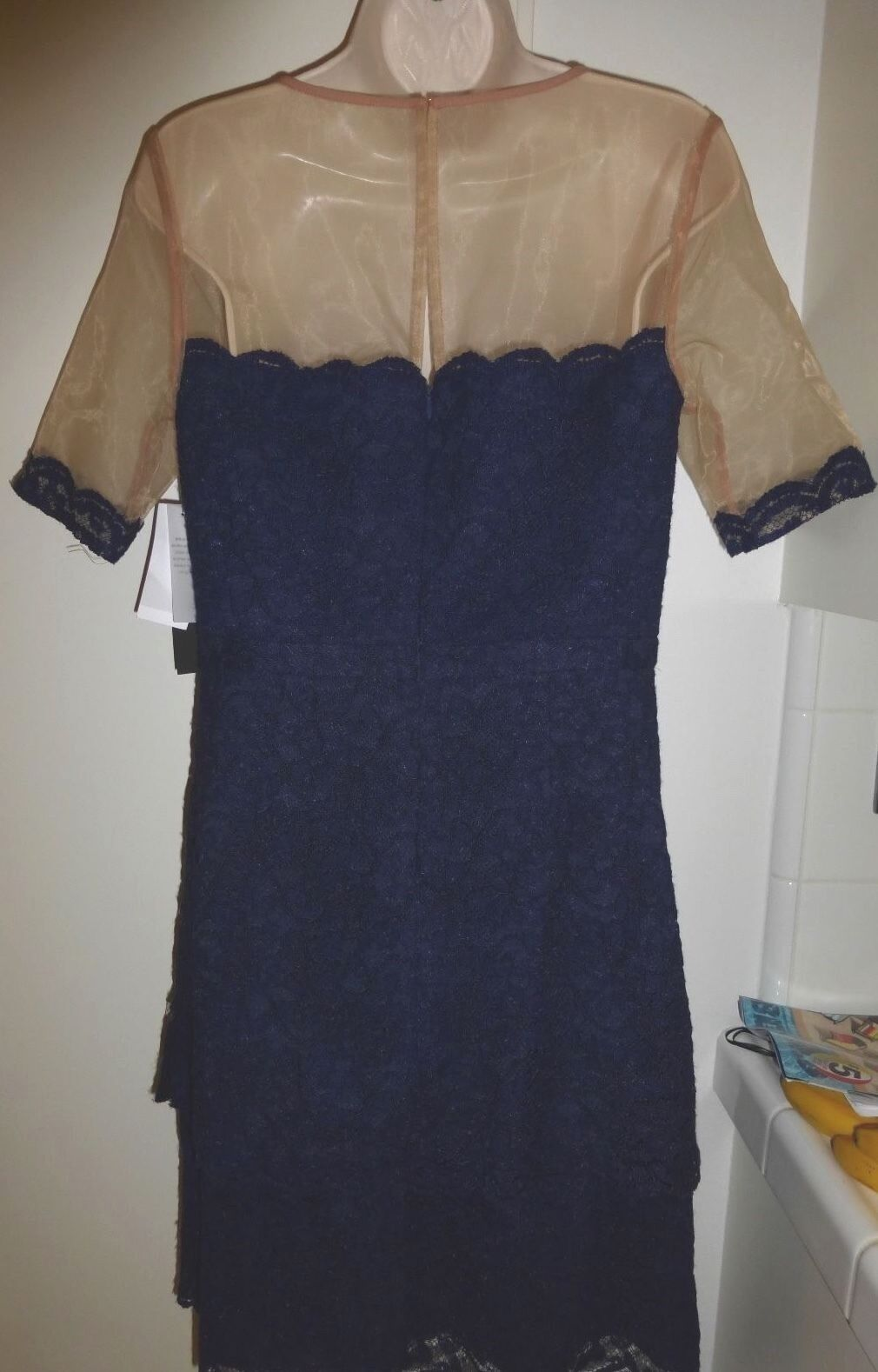 Cynthia Steffe Steffe Steffe Deep Indigo Lace Nude sheer top Dress Size 8  278 NWT 43915a