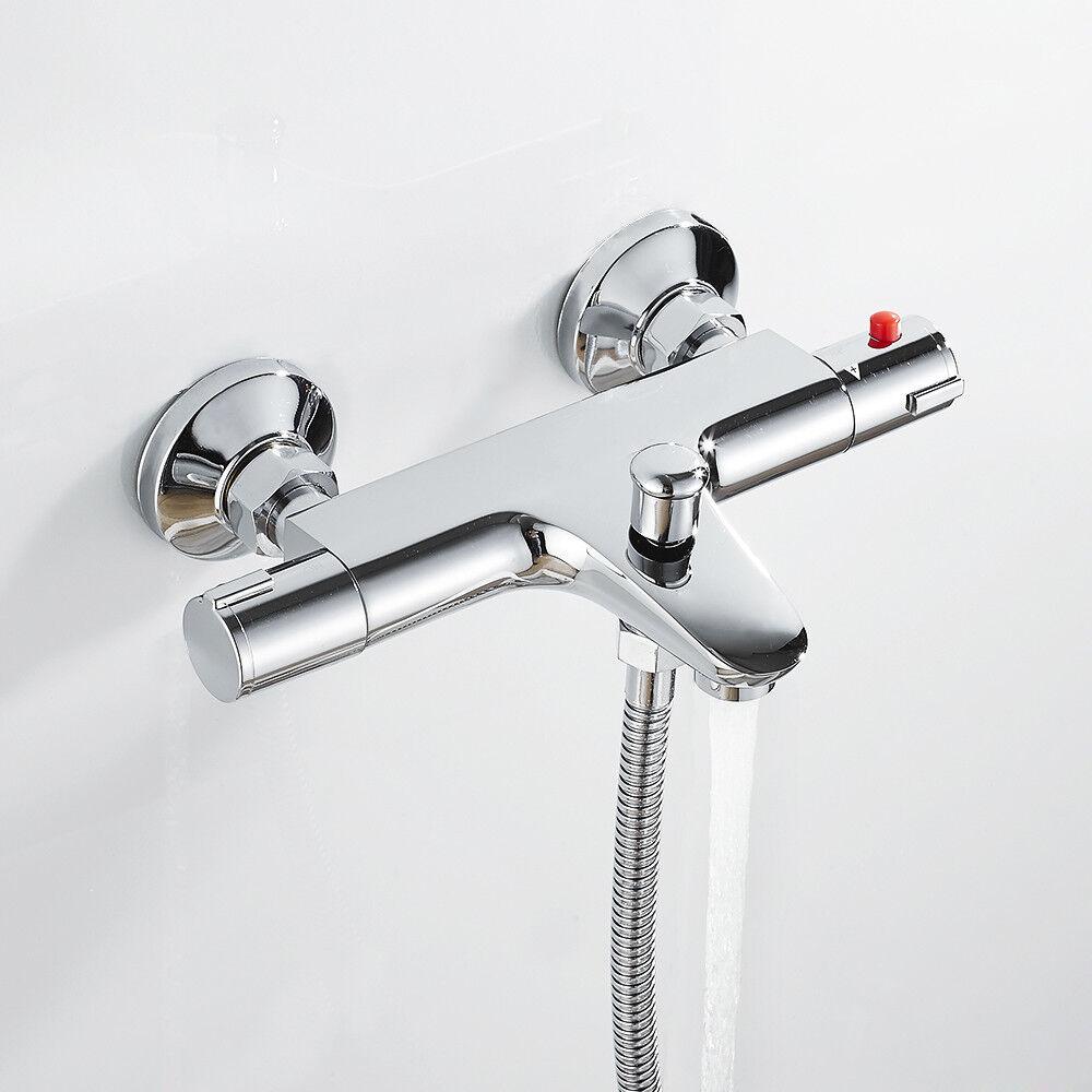 Thermostat Bad Dusche Stabmischer Messinghähne an der Wand befestigtes DE