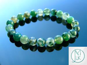 Moss Agate Natural Gemstone Bracelet 6-9'' Elasticated Chakra Healing Stone