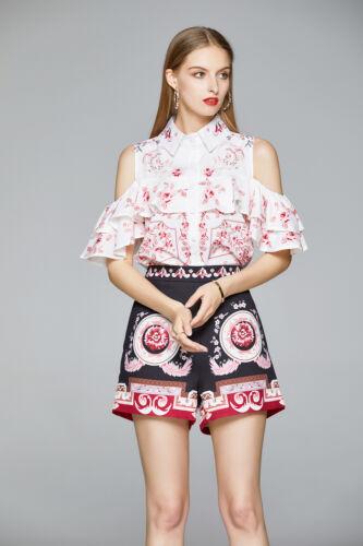 Summer 2pcs Women Sets Runway Flower Print Top Shirt Blouse Short Suits Outfits