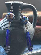 Antique Art Deco 1930's Chinese Silver Enamel Drop Earrings