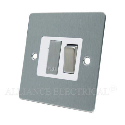 13 Amp Fused Connection Unit Brushed Satin Chrome Flat Switched Fused Spur