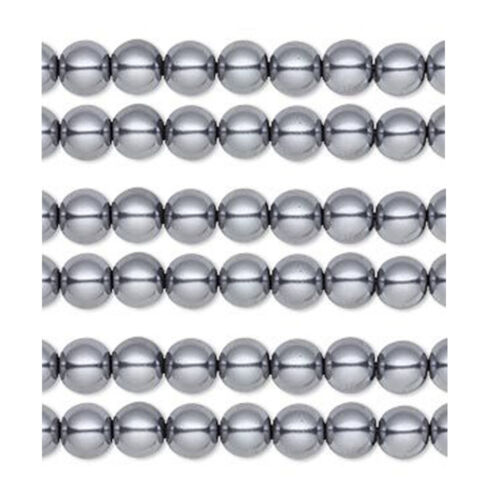 50 Hematite Gray Glass Pearl Round Beads 8MM LIMITED