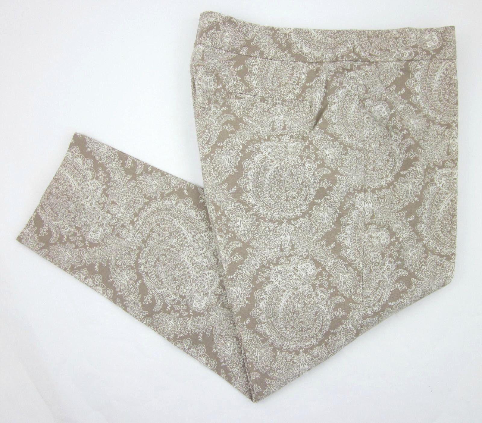Talbots Heritage Fit Paisley Tan White Stretch Cotton Ankle Pants Sz 16