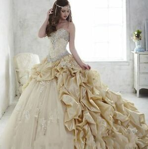 Gold Beaded Tulle Quinceanera Dress Princess Evening Pageant Wedding BallGown