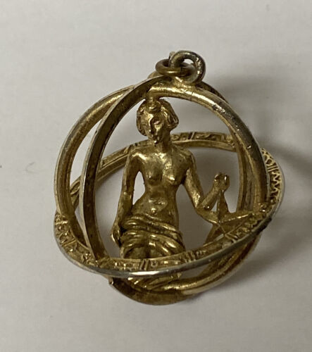 Details about  /1960/'s Crown TRIFARI SIGNED gold tone VIRGO Brooch Pin HOROSCOPE