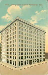 Minneapolis-Minnesota-Lonely-Security-Bank-Building-on-Cloudy-Day-1912-Postcard