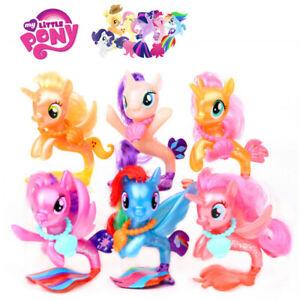 6 X My Little Pony Seapony Rarity Applejack Pinkie Pie Fluttershy Figurines Toy Ebay