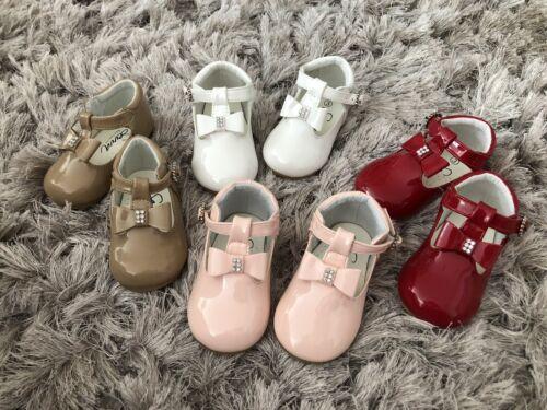 Sevva Lily patent leather T Bar diamante spanish girls shoes 3 4 5 6 bnwt camel