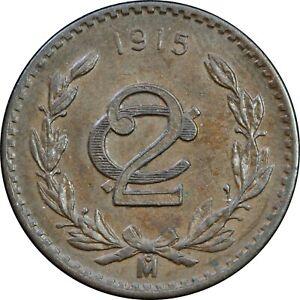 Mexico-2-Centavos-1915-Small-Size-Zapatista-UNC-KM-420