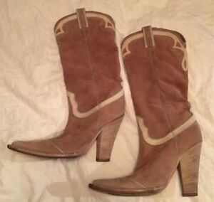 e944830f28d Details about Nando Muzi Suede Cowboy Boots Beige Turquoise Size 38 Real  Italian Leather