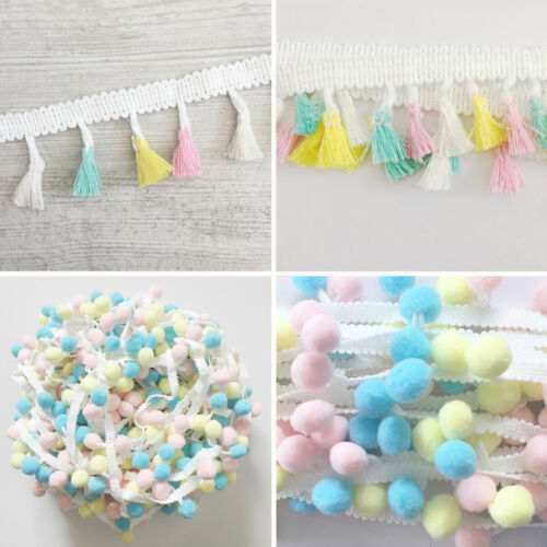 Tassel or Pom Poms Trim Baby Pastels Trimming Ribbon Fringe Trim Craft Nursery