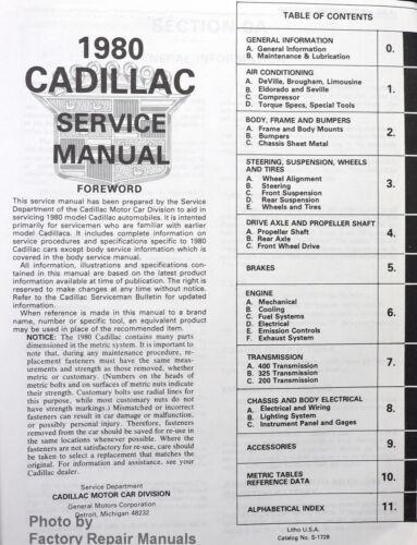 1980 Cadillac All Models Factory Service and Body Manual Shop Repair CD