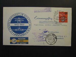 Germany-DDR-1958-Dresden-Leipzig-Dresden-Flight-Cover-Z4725