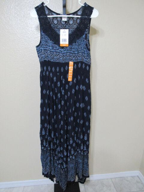Women S Navy Blue Print Sleeveless Bila Maxi Dress Medium Ebay