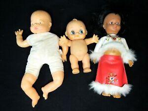 Lot of three Vintage Antique Dolls; Kewpie; Lorrie Ltd 1961; Unknown Plastic