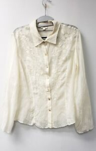 J-Jill-Womens-EMBROIDERED-Blouse-Top-Size-M-Cream-Long-Sleeves-RAYON-Semi-Sheer