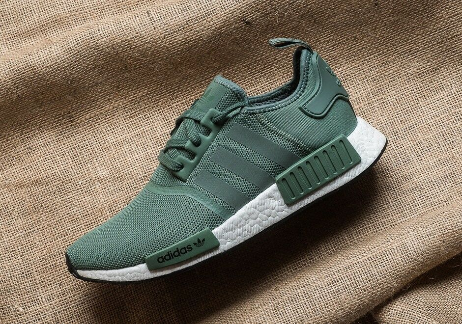 Adidas NMD R1 Trace Green Olive Cargo White Boost Shoes Nomad BY9692 Men Sz 10.5
