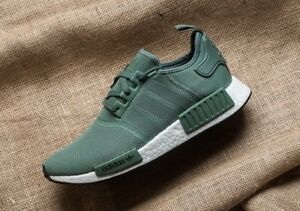 Adidas-NMD-R1-Trace-Green-Olive-Cargo-White-Boost-Shoes-Nomad-BY9692-Mens-Sz-12
