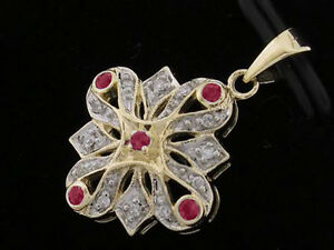 P057-Genuine-9ct-9K-Solid-Gold-NATURAL-Diamond-amp-Ruby-Pendant-Vintage-style