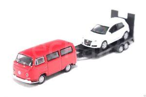 Welly-1-87-Die-Cast-Volkswagen-Off-Roader-Trailer-VW-T2-Golf-GTI-Car-Red-White