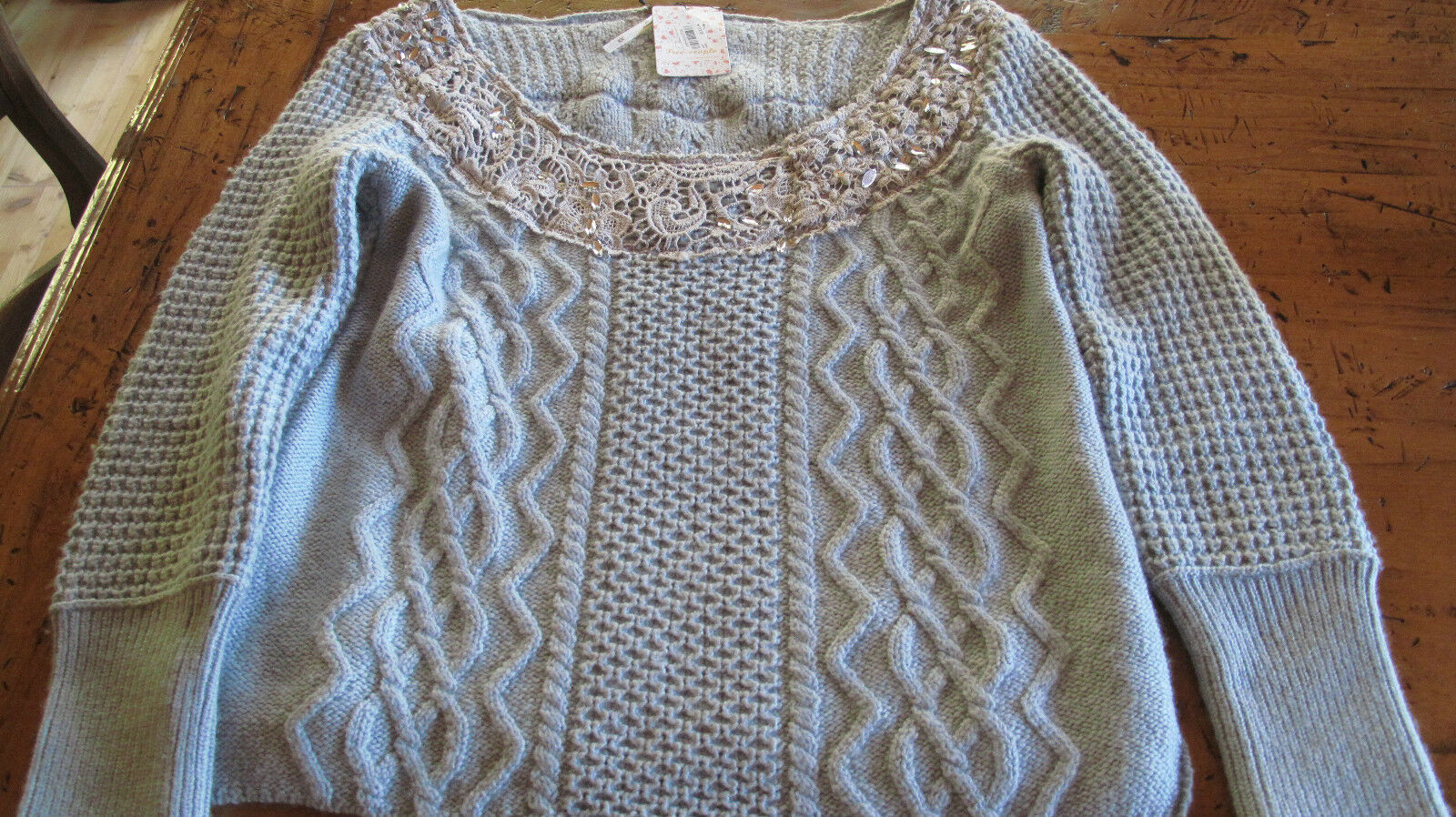 FREE PEOPLE New  Aurora  Rhinestone sequin 2 bluee sweaters Size M