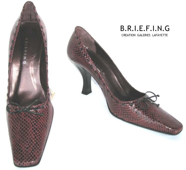 BRIEFING - SHOES ALL LEATHER APPEARANCE REPTILE RED Dark 41 - NEW