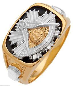 White-Yellow-14K-10K-Solid-Back-Gold-Masonic-Past-Master-Freemason-Mason-Ring