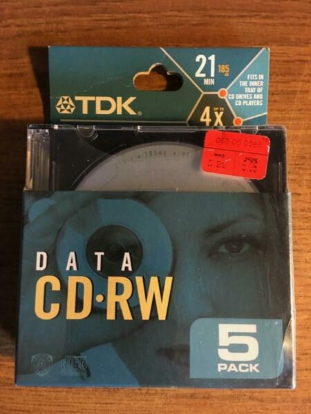 100% Kwaliteit Tdk Cd-rw Data 21 Min. 5 Pack New Late Nite Bargain! Matige Prijs