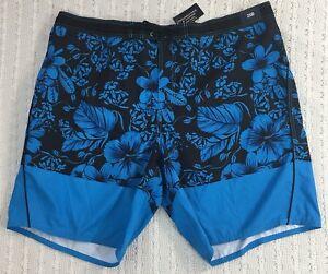 6ec6b93f1c Roundtree & Yorke Men's Blue Black Floral Hawaiian Print Swim Trunks ...