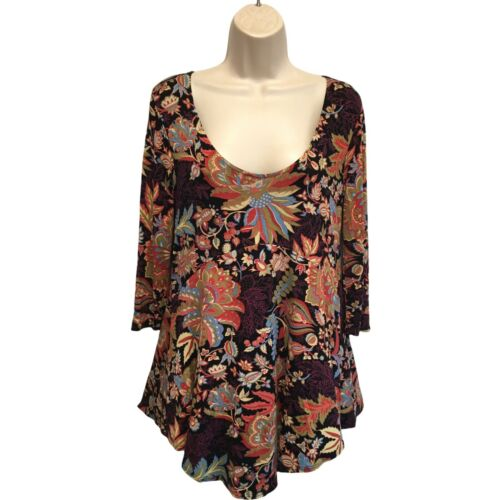 Salaam Floral Print Tunic Top Jersey Knit Size M