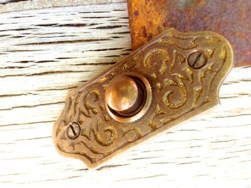 Türklingel ziseliert aus Antik-Messing flache Klingel als Haustür Schelle