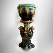Roseville lion head majolica pedestal with majoilica jardiniere - FREE SHIPPING