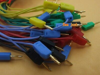 50PCS  5 color Gold 2mm Banana Plug Cable 30cm for Test Probes Instrument Meter