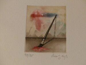 Grabado Original Firmada Heinz Voss Aguafuerte Aguatinta 1/95 Pincel de Pie