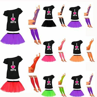 Erfinderisch Womens I Love The 80s T Shirt Tutu Skirt Gloves Legwarmer Set Hen Party Dress