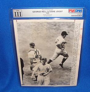 Vintage-1949-All-Star-Game-PSA-DNA-Type-III-Wire-Photograph-Kell-amp-Joost