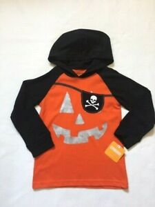 NEW Gymboree Orange Black Pumpkin Face Hooded Tee Top NWT Size 2T 3T 4T 5T 14 yr