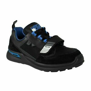 ea7a470cad Details about NIB PRADA Black/Blue Mechano Leather And Fabric Sneakers  Shoes Size 10 US 43 EU