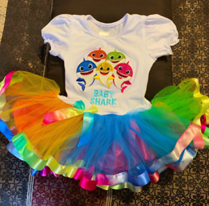 BABY SHARK Party 3 3rd Third year old tutu Dress Birthday Girl Baby Toddler
