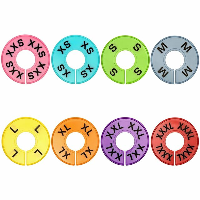 64 Pieces 8 Colors Clothing Tag Size Round Hangers Closet Dividers High Quality for sale online