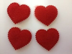 25 Red Fabric Heart Valentines Card Making Scrapbooking Craft