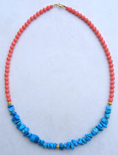 PINK CORAL/TURQUOISE  NECKLACE 19 inch  Sterling Silver 24K Gold Vermeil 2017