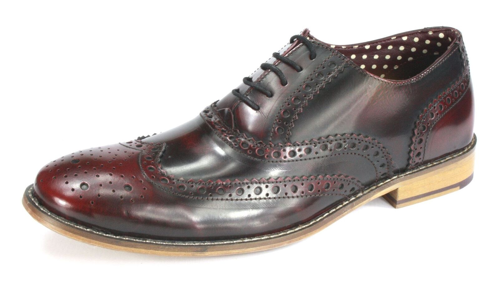 London Brogues Gatsby Uomo Lace Up Formal  Uomo Gatsby Leder Schuhes Hi Shine Bordo 79f675