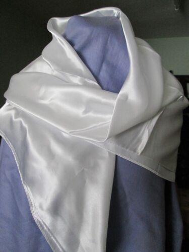 """Donna sensazione di seta quadrato bianco Sciarpa Plain fiocchetto TESTA QUADRATA 35/"""" x 35/"""""""