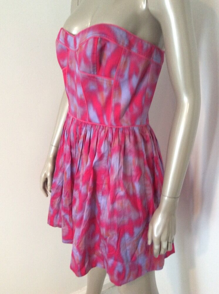 NWT Rebecca Taylor Neiman Marcus Size 8 Hot Pink bluee Strapless Party Dress