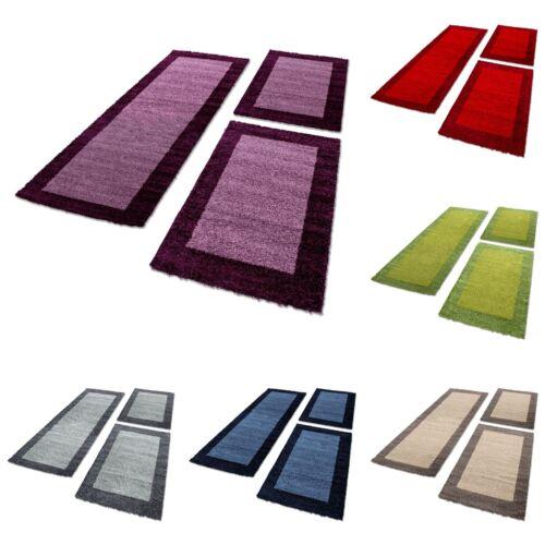 Bettumrandung Schaffel Teppich Läuferset 3 teilig Hochflor Einfarbig Farbe Blau