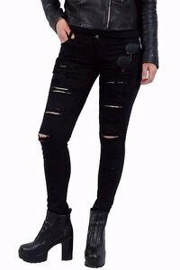 Jeans-Donna-Strappati-Nero-Distressed-Pantaloni-con-Strappi-Denim-Ripped-Slim