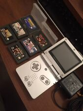 NINTENDO Silver Gameboy Advance SP AGS-001 GBA Bundle Lot Mario Party