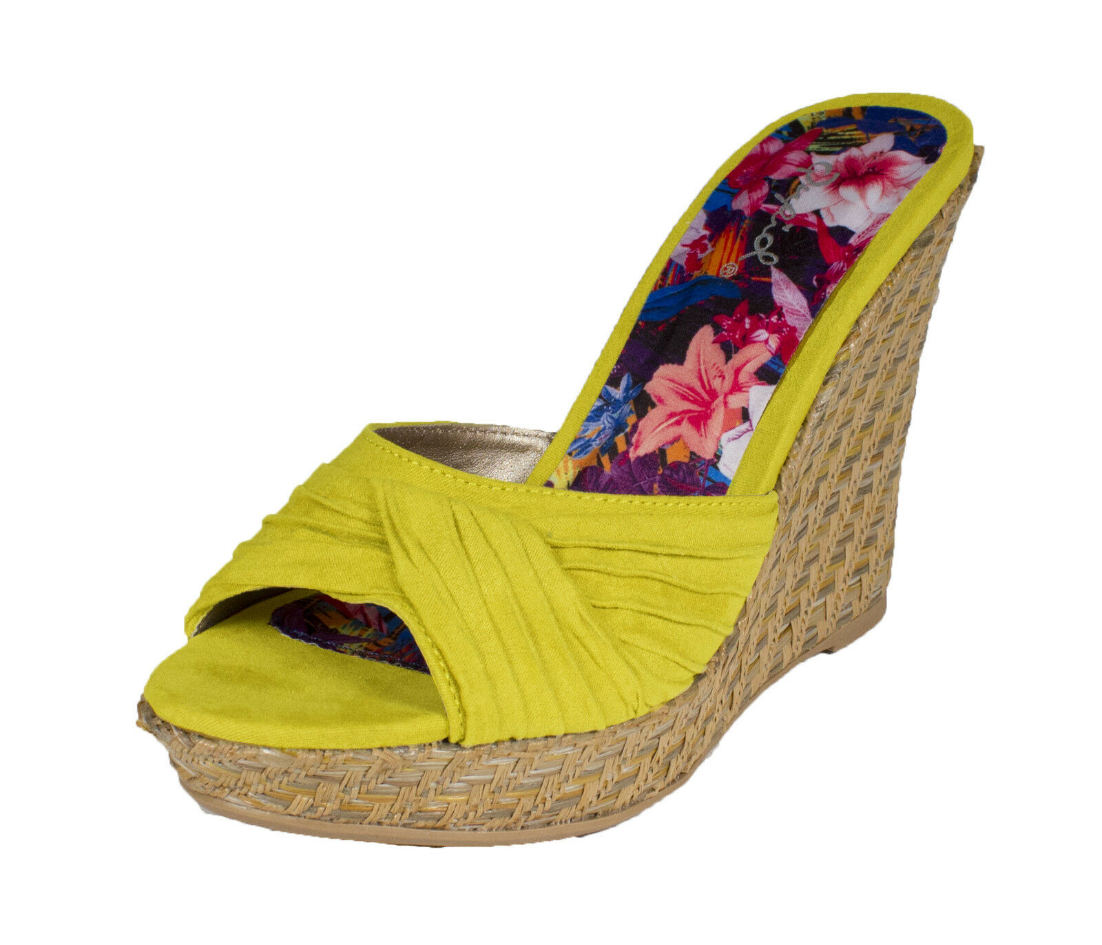 Lena-388! Qupid Women's Weaved Mule Wedge Slip-on Suede Sandal in Lemon Faux Suede Slip-on d68d54